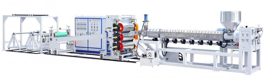 Plastic Sheet, Vertical 3-Rolled Sheet Extrusion Line